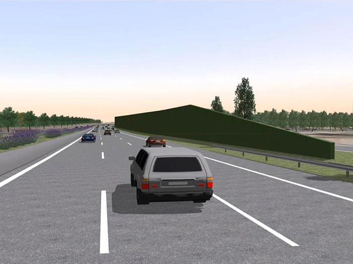 Bild 4: Planung mit 8m hoher Lärmschutzwand, Straßen.NRW