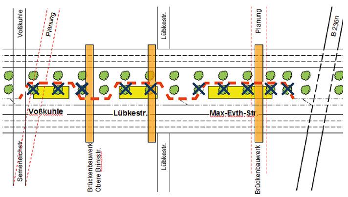 Bild 14: Planschema, das weder Stadtbahn noch Allee gerecht wird: Zukunft?