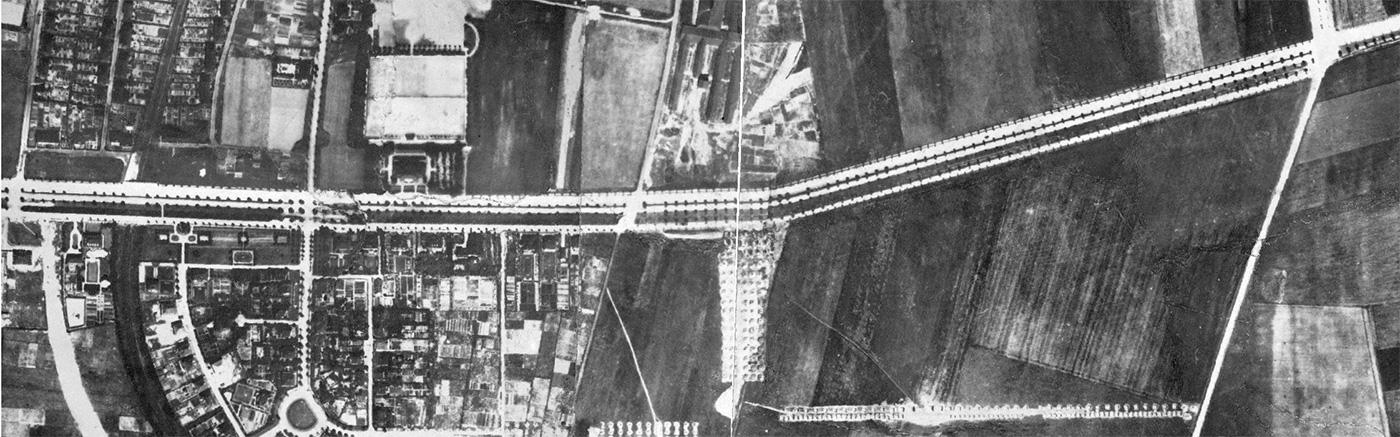 Bild 15: Heutige B1-Achse als Allee mit Gartenstadt im historischen Luftbild von 1926
