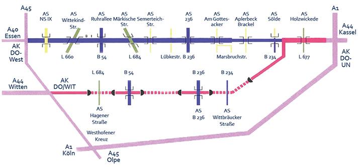 Bild 16: Eine früher verworfene Planung mit A44-Ausbau