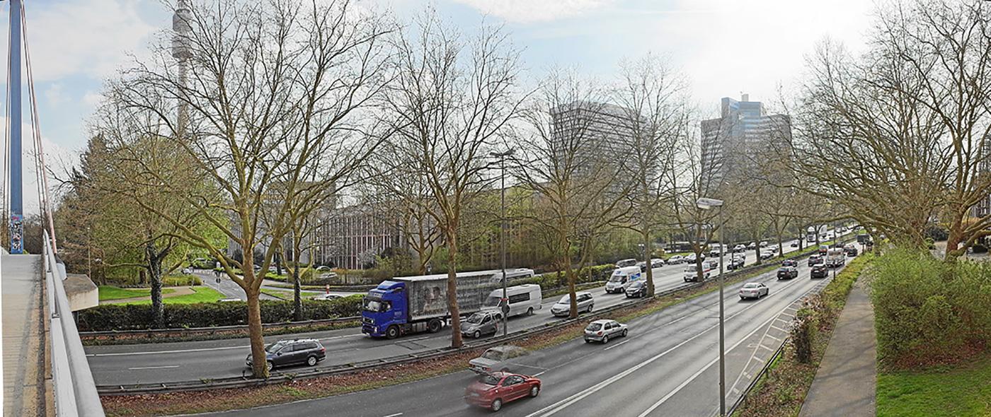 Bild 10: Für die A40 noch mehr Spuren, die Bäume weg - der Preis des Tunnels?