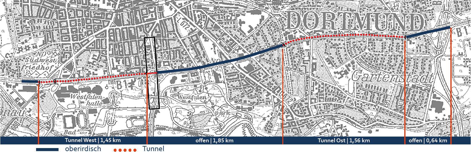 Bild 12: A40-Ausbau in Dortmund Mitte gemäß BVWP 2030