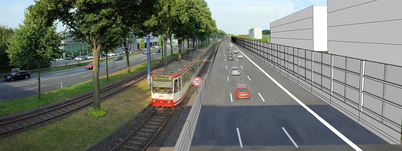 Bild 8: Planung Straßen.NRW Stadtkrone Ost – 3 bis 5 m hohe Lärmschutzwand für Tempo 130, Allee-Bäume ersatzlos gefällt