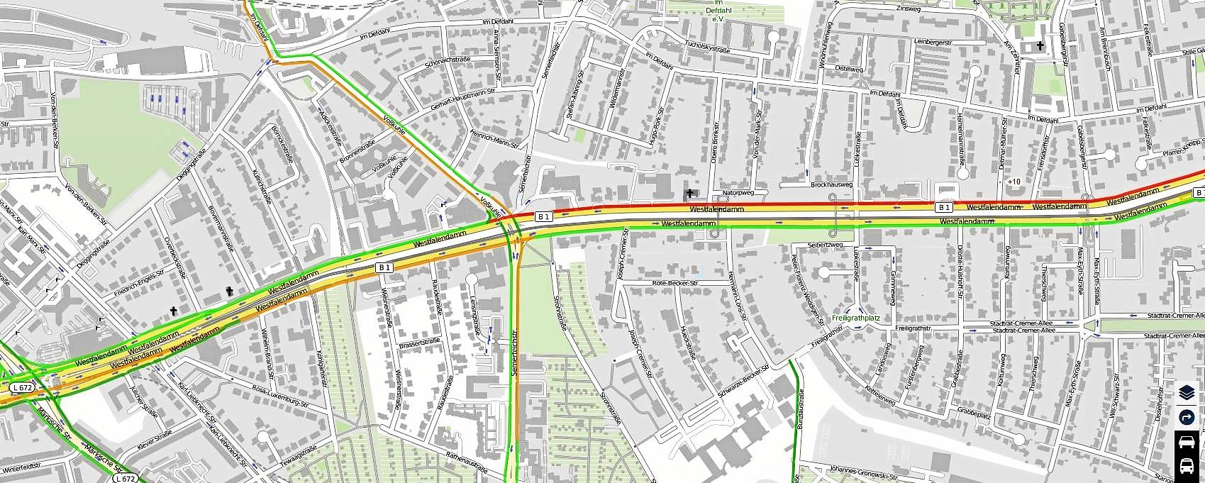 """Verkehrsfluss """"Rot"""" und """"Orange"""" rund um Kreuzung B1- Voßkuhle - wie lange noch?         (Quelle: www.verkehr.nrw)"""