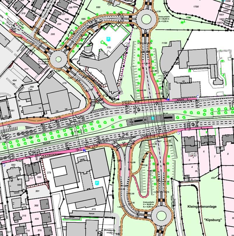 Eine denkbare langfristige Zukunftslösung  mit verlängerter Semerteichstraße - ohne Tunnelanschluss