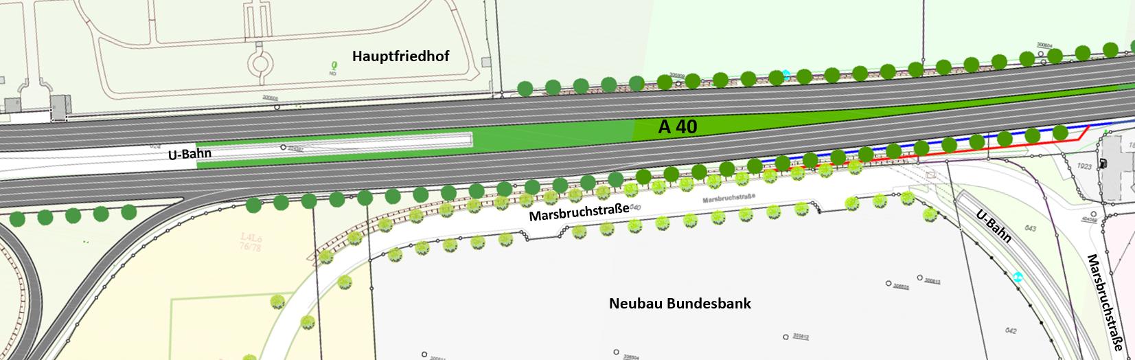 Bild 8: Einfach mögliche Ersatz-Allee, Vorschlag Stadt Dortmund 2018. Doch die Autobahnplaner wollen nicht, wozu sie sich verpflichtet hatten: B1-Alleebäume.